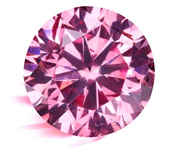 A round, pink diamond.