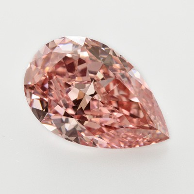 A pear-shaped pink diamond.