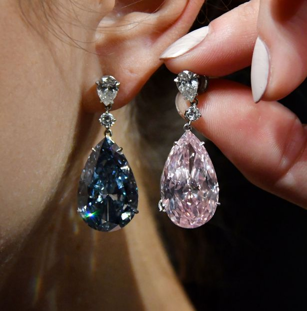 Apollo blue and Artemis pink diamond earrings.