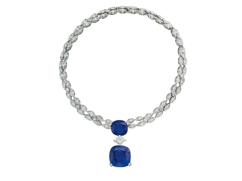A sapphire and diamond necklace by Cartier.