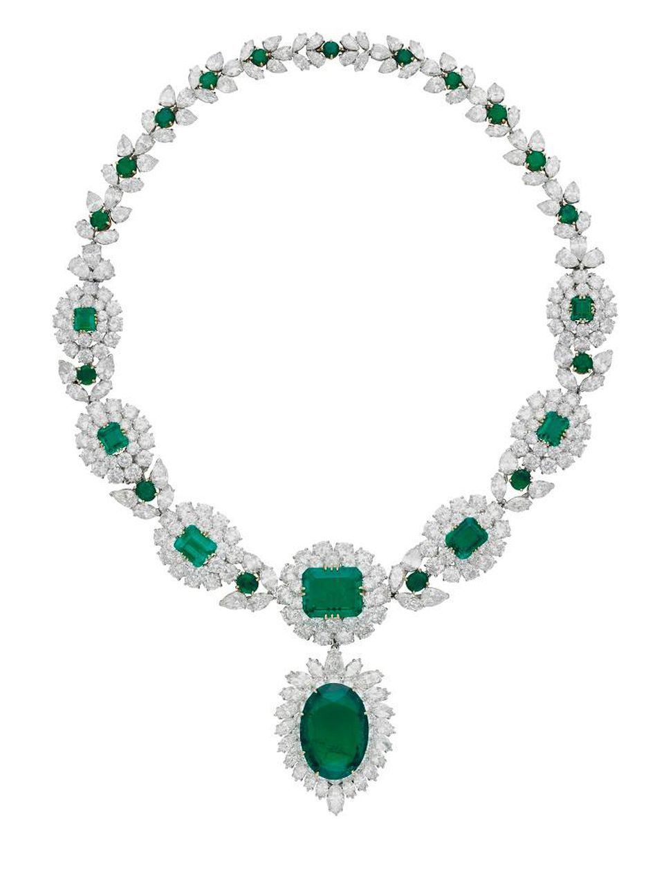 A large transformable emerald and diamond necklace.