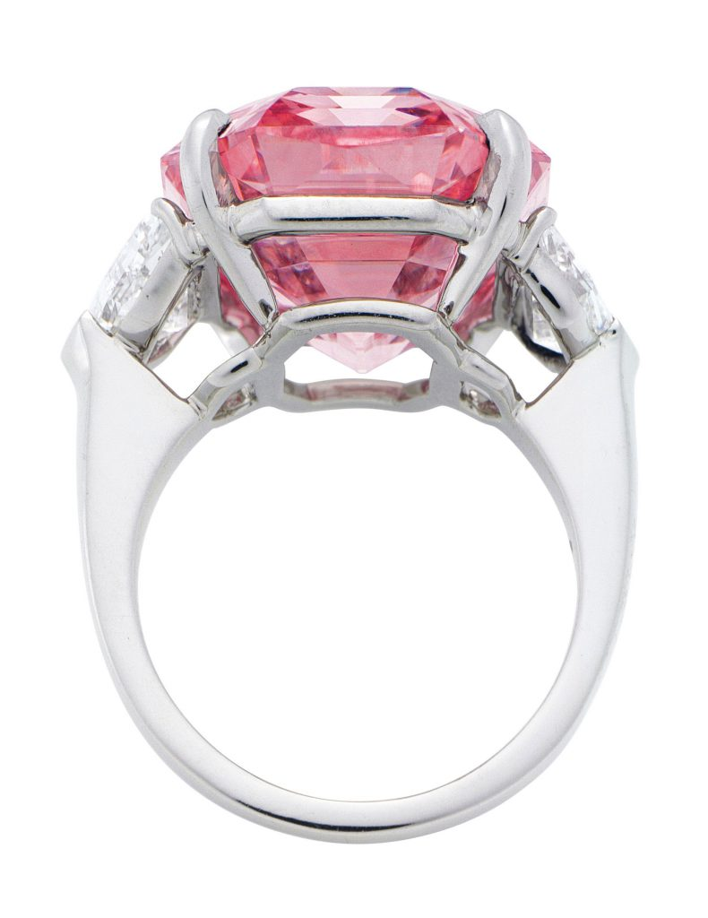 The Pink Legacy diamond in a ring.