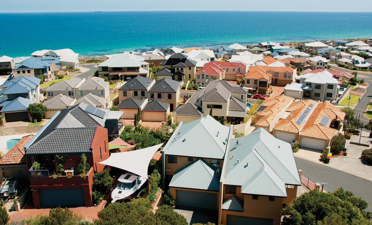 An aerial view of houses in Australian property.