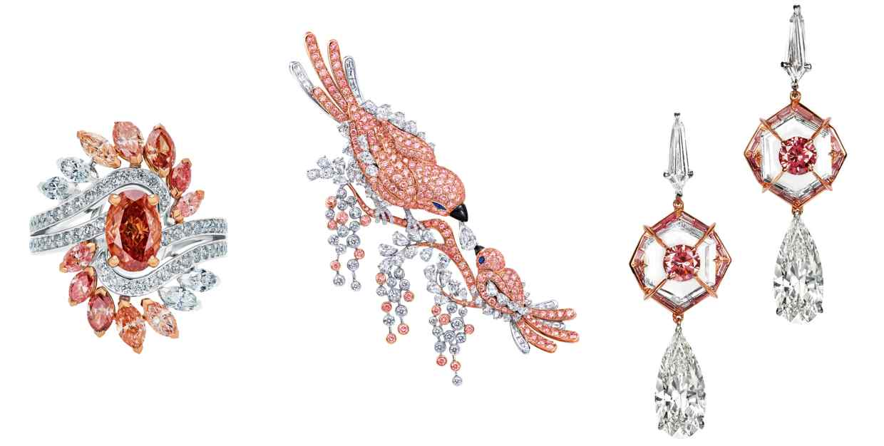A selection of pink diamonds jewellery