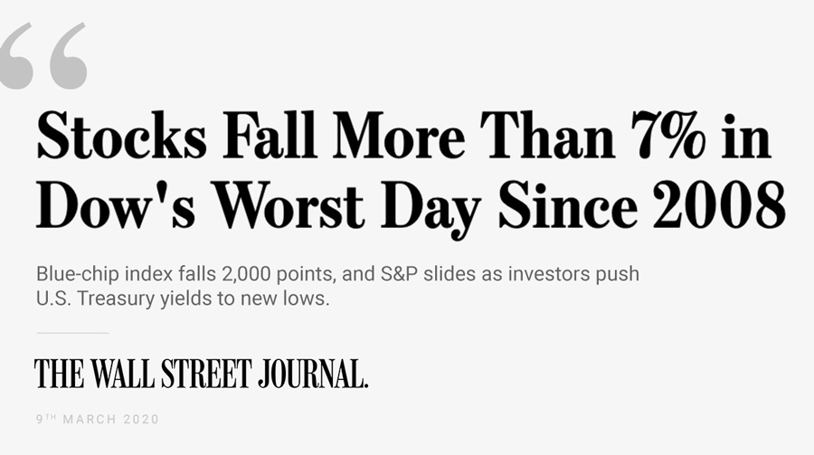 Stocks fall more than 7% in Dow's worst day since 2008 - Wall Street Journal